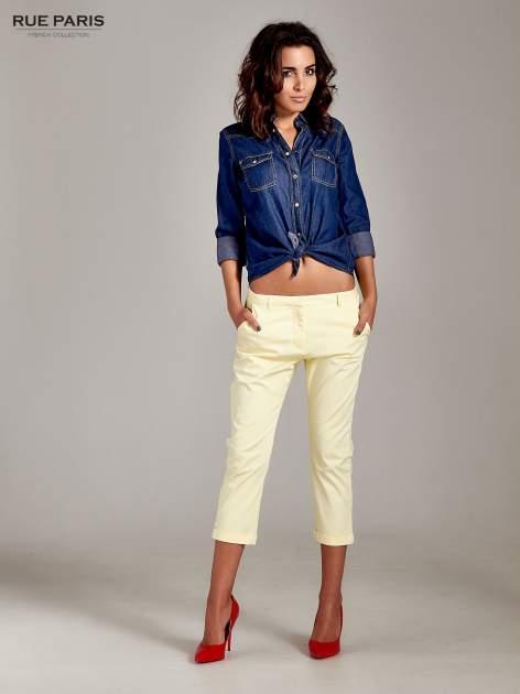Jasnożółte eleganckie spodnie za kolano                                  zdj.                                  4
