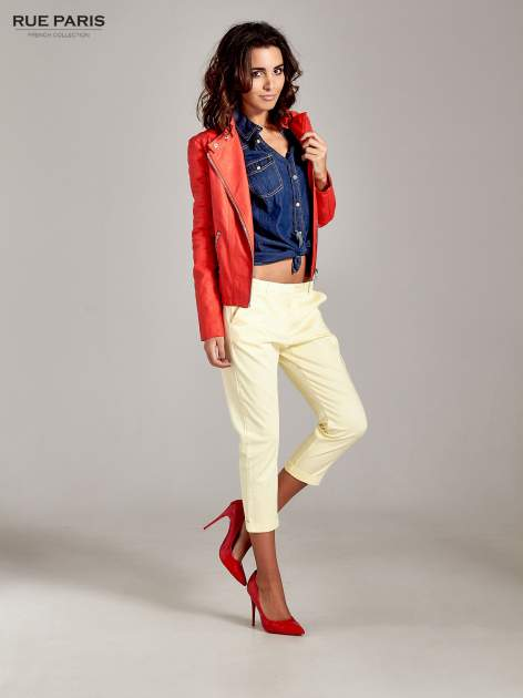 Jasnożółte eleganckie spodnie za kolano                                  zdj.                                  9