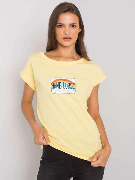 Jasnożółty t-shirt z nadrukiem Aloha