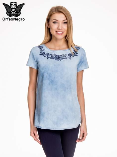 Jeansowa bluzka koszulowa z haftem                                  zdj.                                  1