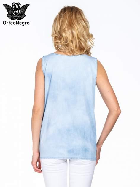 Jeansowa bluzka koszulowa z haftem                                  zdj.                                  4