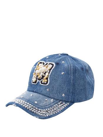 Jeansowa damska czapka z daszkiem ozdobiona dżetami