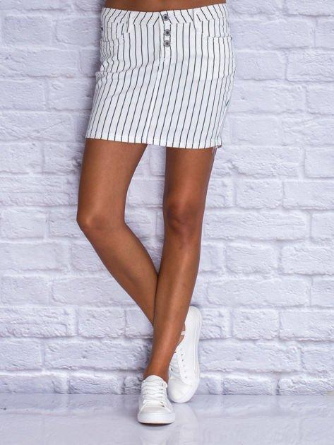 Jeansowa minispódnica w biało-granatowe paski                                  zdj.                                  1