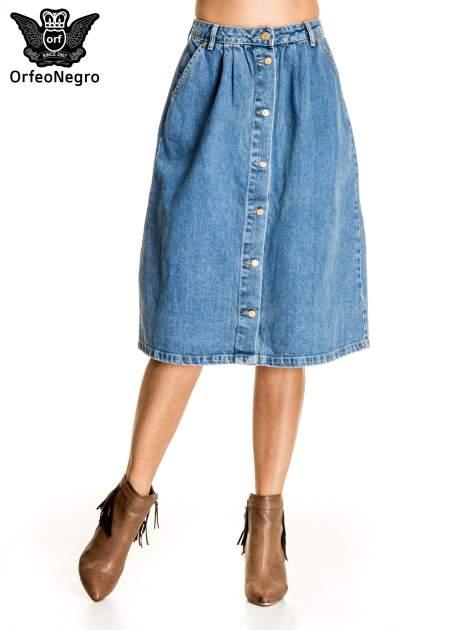 Jeansowa spódnica z guzikami w stylu vintage                                  zdj.                                  1