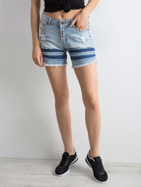 Jeansowe szorty niebieskie wystrzępione                              zdj.                              5