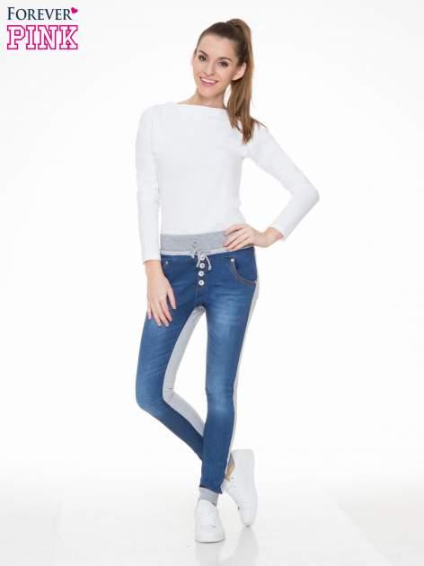 Jeansowo-dresowe spodnie typu tregginsy z wysokim pasem                                  zdj.                                  2