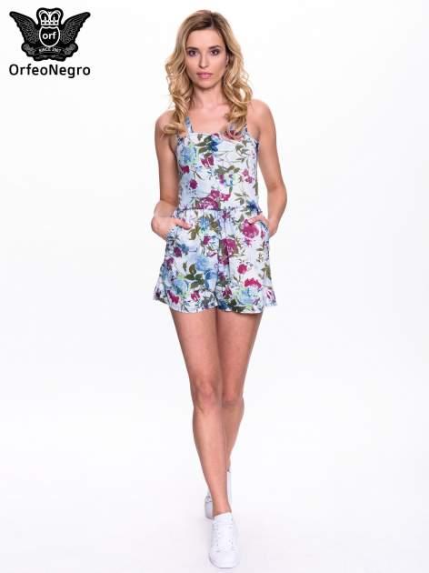 Jeansowy krótki kombinezon w kwiaty                                  zdj.                                  9