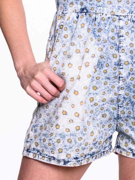 Jeansowy krótki kombinezon w stokrotki                                  zdj.                                  5