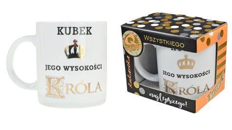 """KUKARTKA Kubek """"Jego Wysokość Król"""" porcelanowy w ozdobnym złoconym kartoniku"""