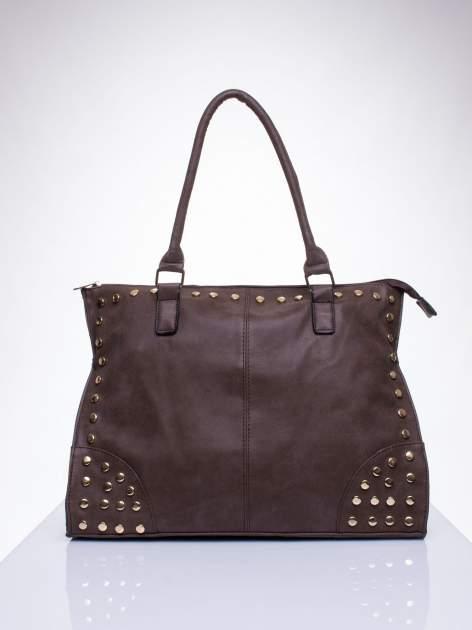 Kawowa torba shopper bag ze złotymi ćwiekami