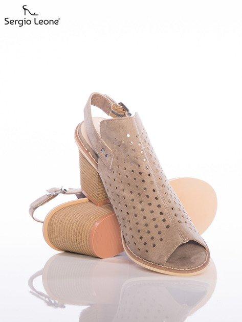 Kawowe ażurowe sandały Sergio Leone na szerokim klocku                              zdj.                              4