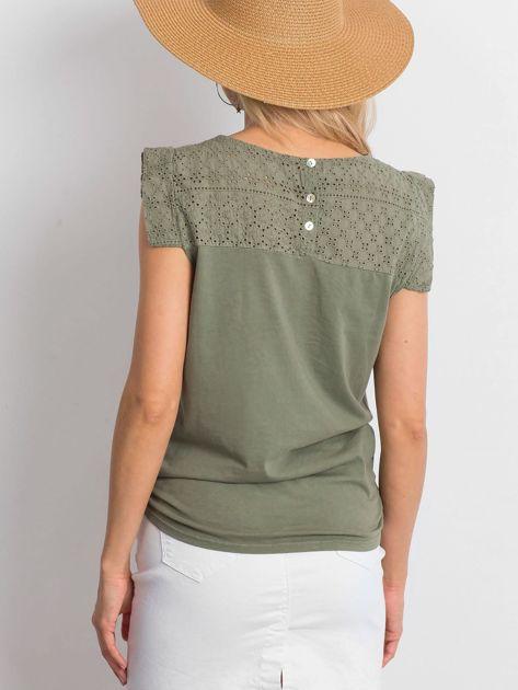 Khaki ażurowana bluzka damska                              zdj.                              3