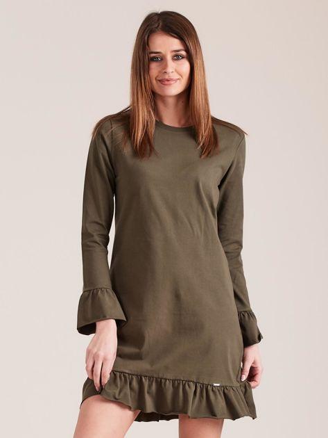 Khaki bawełniana sukienka z falbanką                              zdj.                              1
