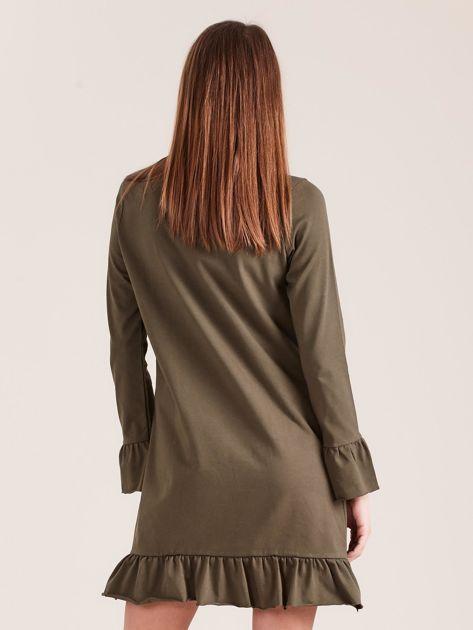Khaki bawełniana sukienka z falbanką                              zdj.                              2