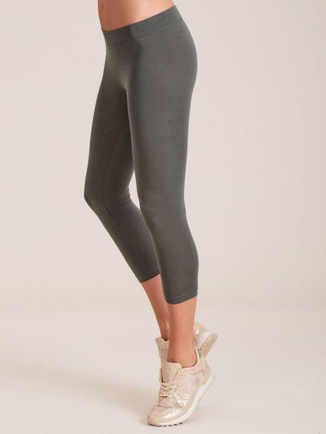 Khaki bawełniane legginsy 7/8                              zdj.                              3