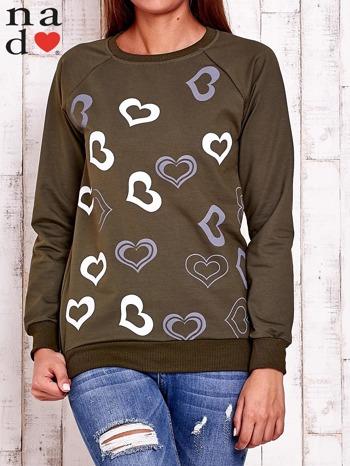 Khaki bluza w serduszka                                  zdj.                                  2