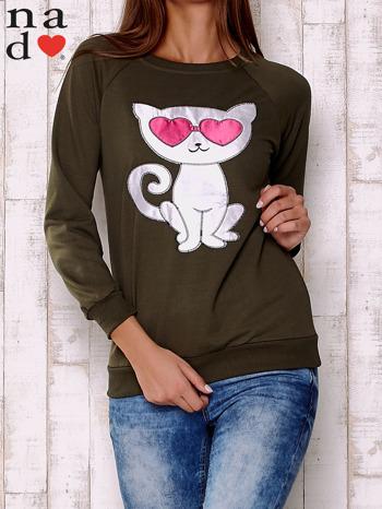 Khaki bluza z aplikacją kota