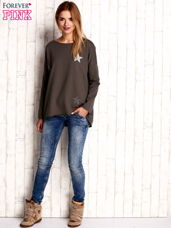 Khaki bluza z błyszczącymi gwiazdkami                                  zdj.                                  4