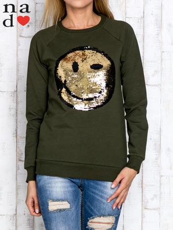 Khaki bluza z dwustronną naszywką z cekinów                                  zdj.                                  1