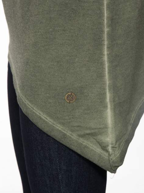 Khaki bluza z koronkową wstawką na plecach                                  zdj.                                  9
