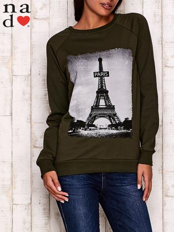 Khaki bluza z motywem Wieży Eiffla                                  zdj.                                  1