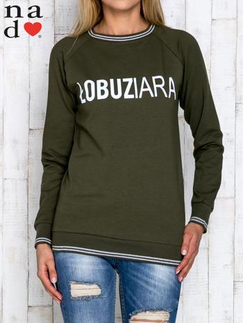 Khaki bluza z napisem ŁOBUZIARA                                  zdj.                                  1