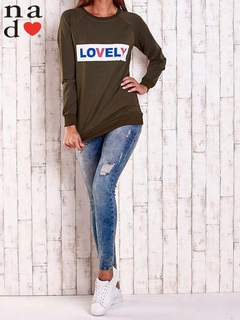 Khaki bluza z napisem LOVELY                                  zdj.                                  3