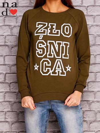 Khaki bluza z napisem ZŁOŚNICA                              zdj.                              1