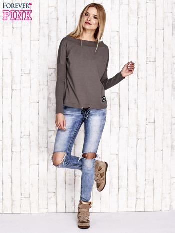 Khaki bluza z szerokim ściągaczem i troczkami                                  zdj.                                  4