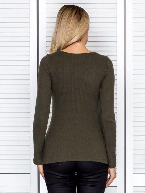 Khaki bluzka damska ze sznurowanym dekoltem                               zdj.                              2