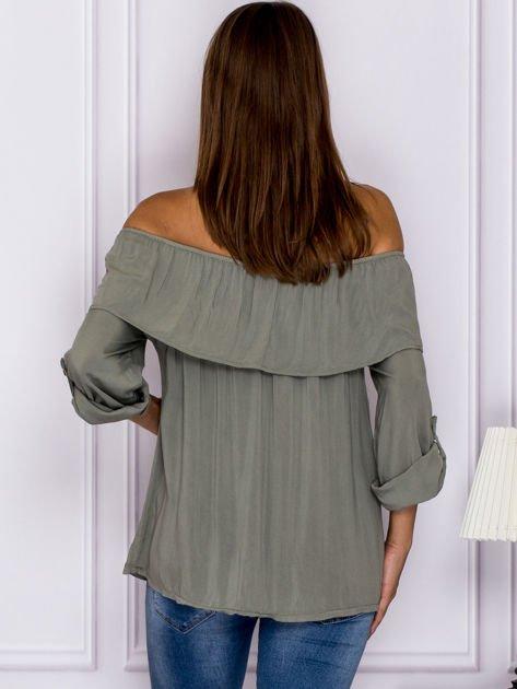 Khaki bluzka hiszpanka z podwijanymi rękawami                                  zdj.                                  2