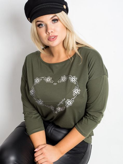 Khaki bluzka plus size Feelings                              zdj.                              1