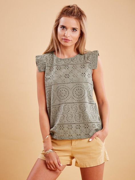 Khaki bluzka z ażurowym wzorem                              zdj.                              1
