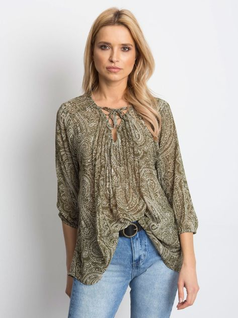 Khaki bluzka z motywem paisley