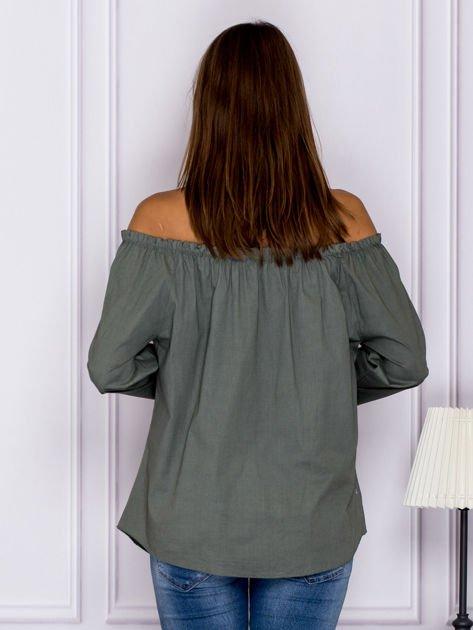 Khaki bluzka z wiązaniami na rękawach                              zdj.                              2