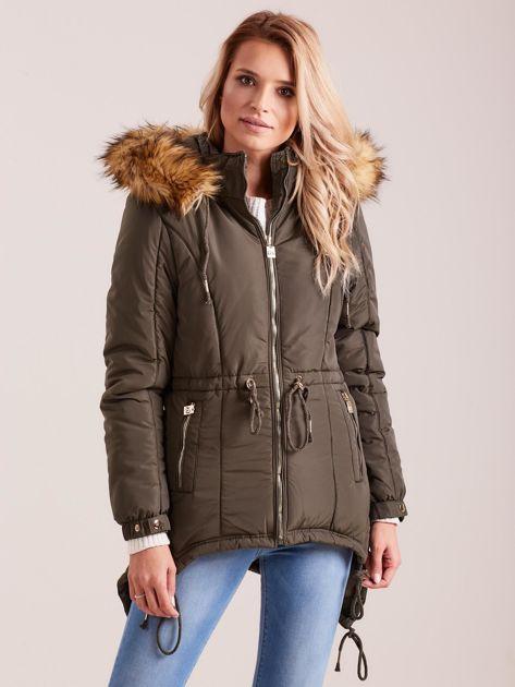 Khaki damska kurtka na zimę                              zdj.                              1