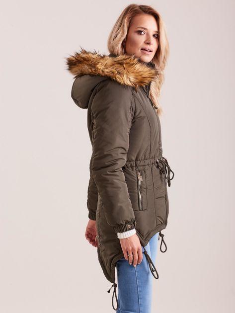 Khaki damska kurtka na zimę                              zdj.                              3