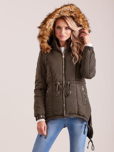 Khaki damska kurtka na zimę                              zdj.                              5