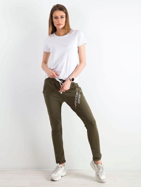 cb114a45c Khaki damskie spodnie dresowe z dżetami - Spodnie Dresowe - sklep ...