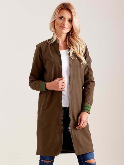 Khaki długa kurtka bomberka                              zdj.                              5