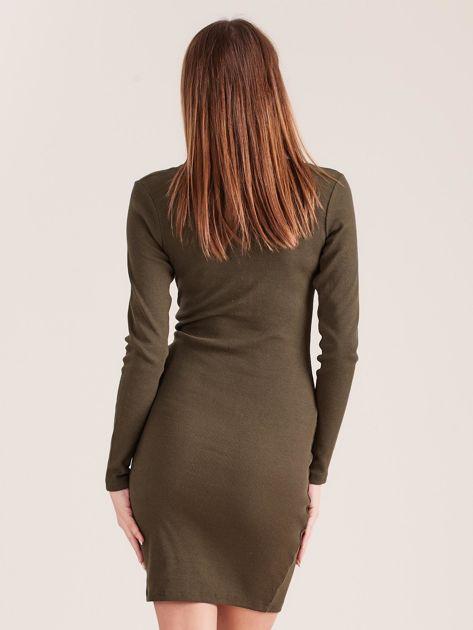 Khaki dopasowana sukienka z guzikami                              zdj.                              2