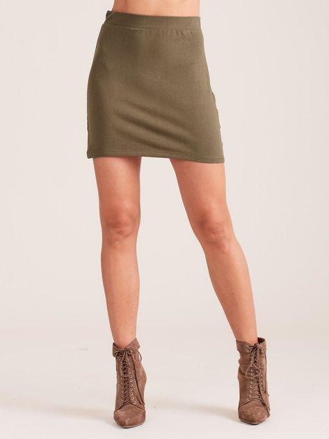 Khaki dresowa spódnica mini                              zdj.                              5