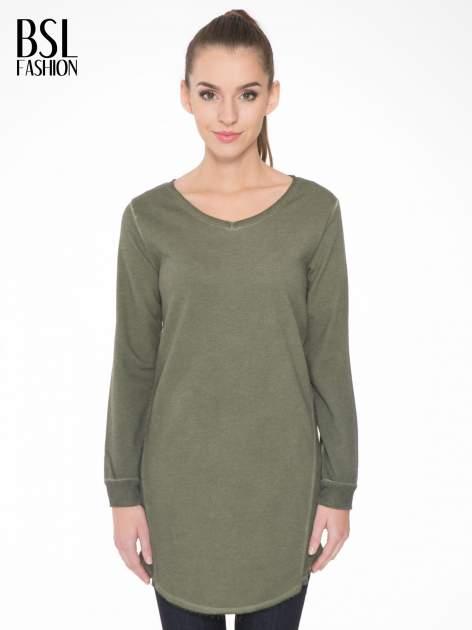 Khaki dresowa sukienkotunika z zaokrąglonym dołem                                  zdj.                                  1
