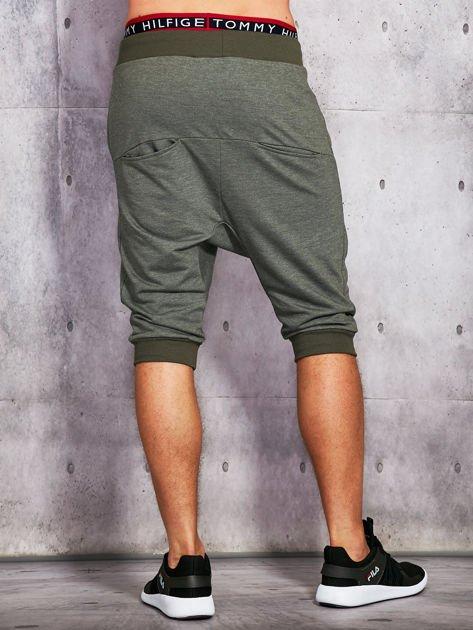 Khaki dresowe szorty męskie ze ściągaczami                              zdj.                              2