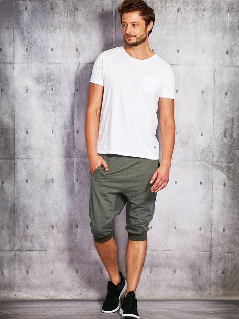 Khaki dresowe szorty męskie ze ściągaczami                              zdj.                              4