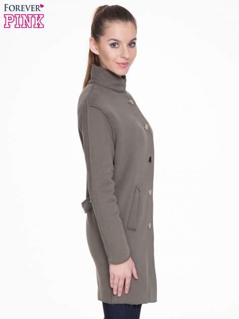 Khaki dresowy płaszcz o kroju oversize                                  zdj.                                  3