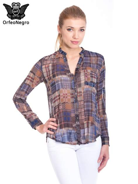 Khaki koszula damska w kratę                                  zdj.                                  1