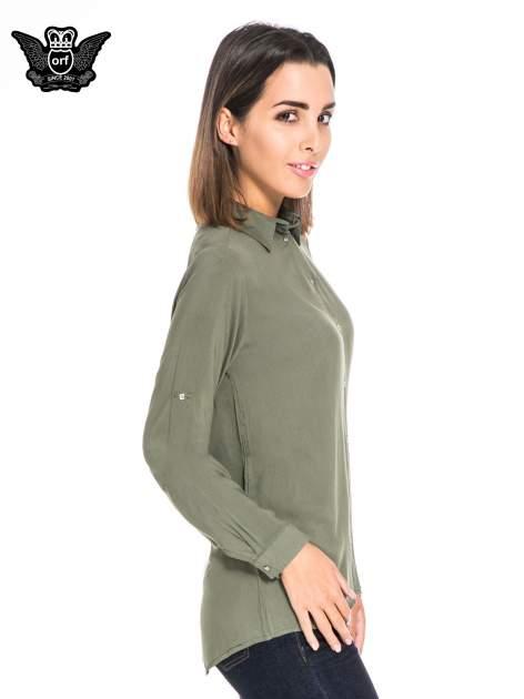 Khaki koszula damska z zamkiem z tyłu                                  zdj.                                  3