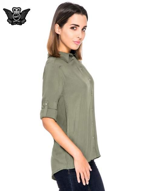 Khaki koszula damska z zamkiem z tyłu                                  zdj.                                  5