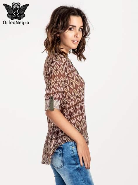 Khaki koszula w etniczne wzory                                   zdj.                                  5